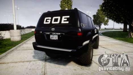 Toyota Land Cruiser 100 GOE [ELS] для GTA 4 вид сзади слева