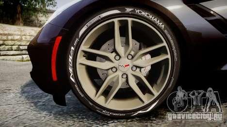 Chevrolet Corvette C7 Stingray 2014 v2.0 TireYA2 для GTA 4 вид сзади