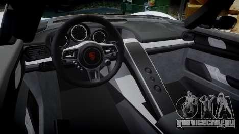 Porsche 918 Spyder 2014 Weissach для GTA 4 вид изнутри