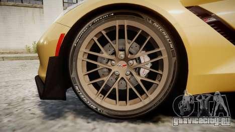 Chevrolet Corvette Z06 2015 TireMi5 для GTA 4 вид сзади