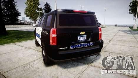 Chevrolet Tahoe 2015 Sheriff [ELS] для GTA 4 вид сзади слева