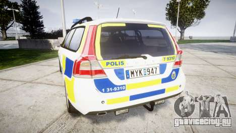 Volvo V70 2014 Swedish Police [ELS] Marked для GTA 4 вид сзади слева