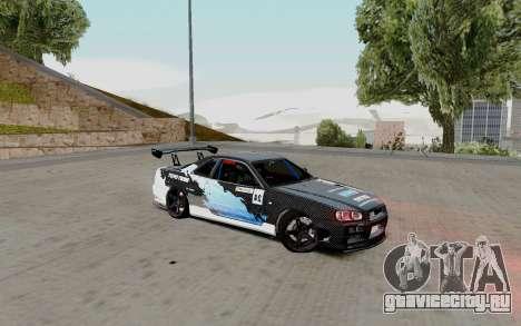 Nissan Skyline GT-R 34 Toyo Tires для GTA San Andreas вид справа
