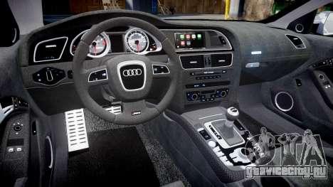 Audi RS5 2012 v2.0 для GTA 4 вид изнутри