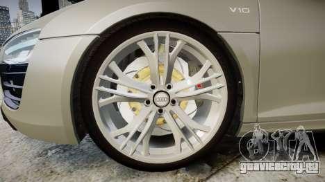 Audi R8 V10 Plus 2014 для GTA 4 вид сзади