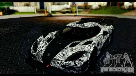 Koenigsegg One:1 v2 для GTA San Andreas вид снизу