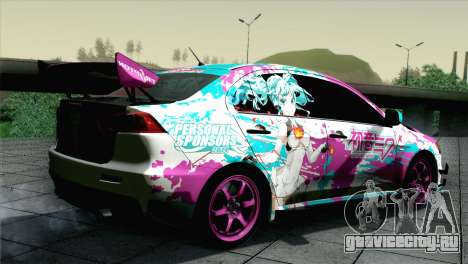 Mitsubishi Lancer Evolution X Racing Miku 2014 для GTA San Andreas вид слева