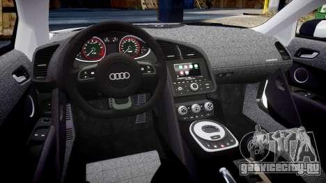 Audi R8 V10 Plus 2014 для GTA 4 вид изнутри
