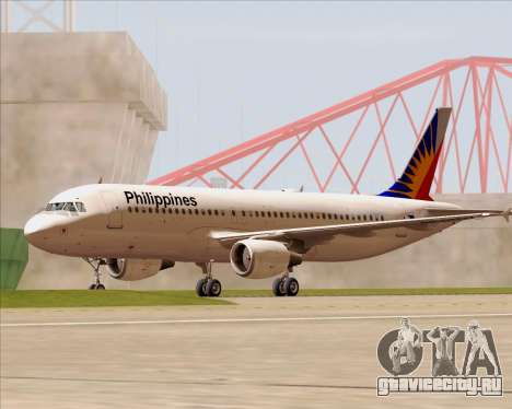 Airbus A320-200 Philippines Airlines для GTA San Andreas вид снизу