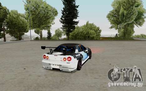 Nissan Skyline GT-R 34 Toyo Tires для GTA San Andreas вид сзади слева
