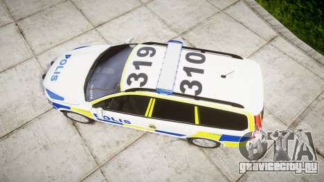 Volvo V70 2014 Swedish Police [ELS] Marked для GTA 4 вид справа