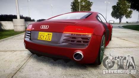 Audi R8 V10 Plus 2014 для GTA 4 вид сзади слева