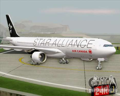 Airbus A330-300 Air Canada Star Alliance Livery для GTA San Andreas вид сзади слева