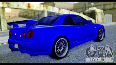 Nissan Skyline GTR R-34 from Fast and Furious 4 для GTA San Andreas вид слева