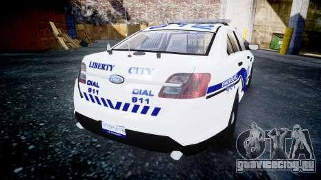Ford Taurus 2014 Liberty City Police [ELS] для GTA 4 вид сзади слева