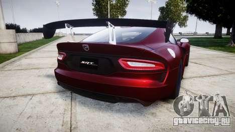 Dodge Viper SRT GTS 2013 для GTA 4 вид сзади слева