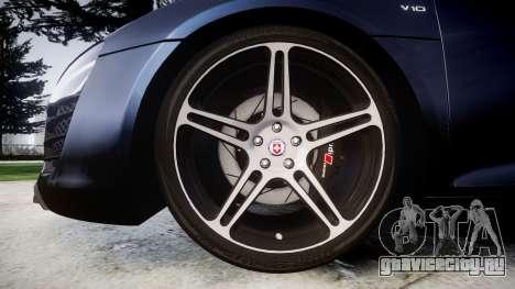 Audi R8 plus 2013 HRE rims для GTA 4 вид сзади