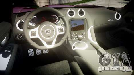 Dodge Viper SRT GTS 2013 для GTA 4 вид изнутри