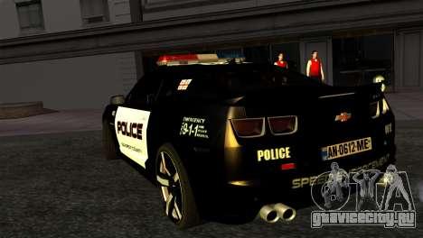 Chevrolet Camaro Police для GTA San Andreas вид слева