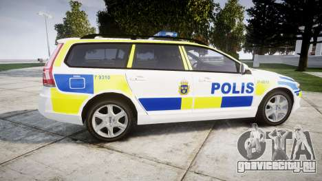Volvo V70 2014 Swedish Police [ELS] Marked для GTA 4 вид слева
