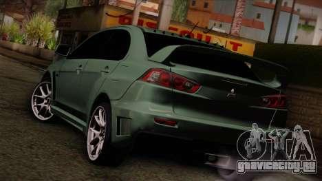 Mitsubishi Lancer Evolution FQ-400 для GTA San Andreas вид слева