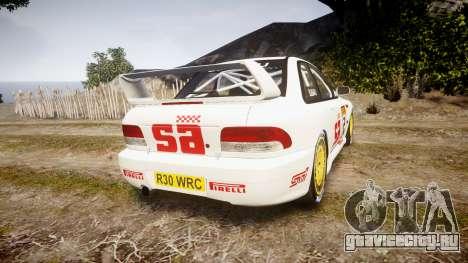 Subaru Impreza WRC 1998 v4.0 SA Competio для GTA 4 вид сзади слева
