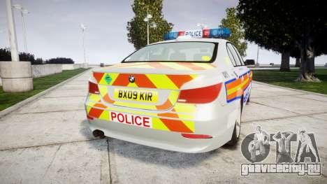 BMW 525d E60 2009 Police [ELS] для GTA 4 вид сзади слева