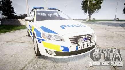 Volvo V70 2014 Swedish Police [ELS] Marked для GTA 4