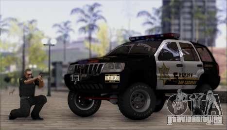 Jeep Grand Cherokee 1999 Sheriff для GTA San Andreas вид сзади слева
