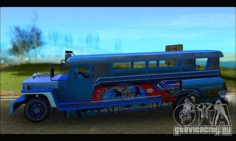 Jeepney Morales для GTA San Andreas вид слева