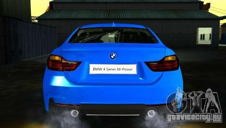 BMW 4-Series Coupe M Sport 2014 для GTA San Andreas вид сзади