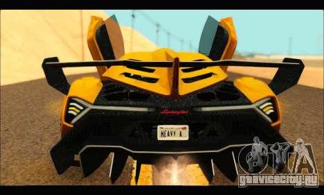 Lamborghini Veneno 2013 HQ для GTA San Andreas вид сзади слева