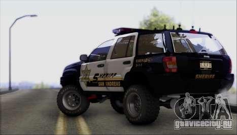 Jeep Grand Cherokee 1999 Sheriff для GTA San Andreas вид сзади