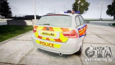 BMW 325d E91 2010 Metropolitan Police [ELS] для GTA 4 вид сзади слева