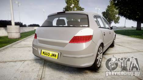 Vauxhall Astra 2009 Police [ELS] Unmarked для GTA 4 вид сзади слева