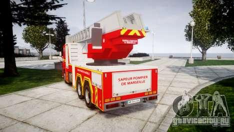 Scania R580 Marseille Fireladder [ELS] для GTA 4 вид сзади слева