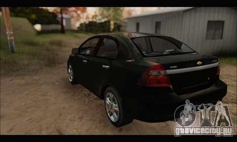 Chevrolet Aveo LT 2010 для GTA San Andreas вид сзади
