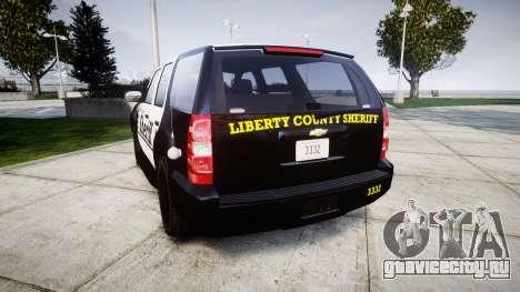 Chevrolet Tahoe 2013 County Sheriff [ELS] для GTA 4 вид сзади слева