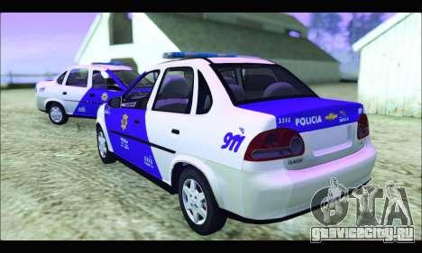 Chevrolet Corsa Classic Policia de Santa Fe для GTA San Andreas вид слева