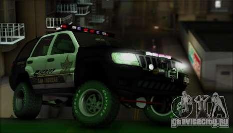 Jeep Grand Cherokee 1999 Sheriff для GTA San Andreas вид сверху
