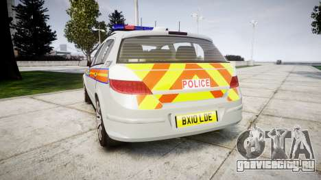 Vauxhall Astra 2010 Police [ELS] Whelen Liberty для GTA 4 вид сзади слева