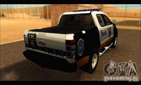 Ford Ranger P.B.A 2015 Text3 для GTA San Andreas вид слева
