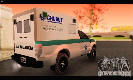 Ford Ranger 2013 Ambulancia Chubut для GTA San Andreas вид сзади слева