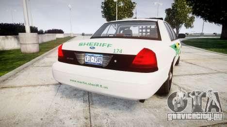 Ford Crown Victoria Martin County Sheriff [ELS] для GTA 4 вид сзади слева