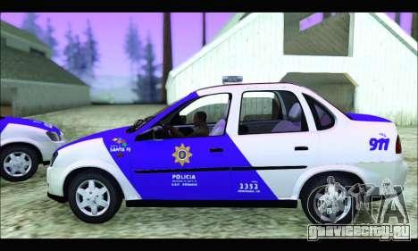 Chevrolet Corsa Classic Policia de Santa Fe для GTA San Andreas вид сзади слева