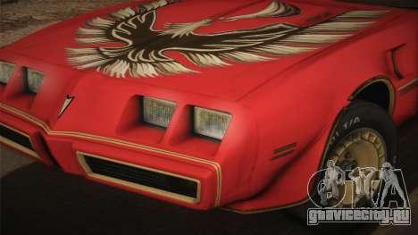 Pontiac Turbo Trans Am 1980 Bandit Edition для GTA San Andreas вид сзади слева