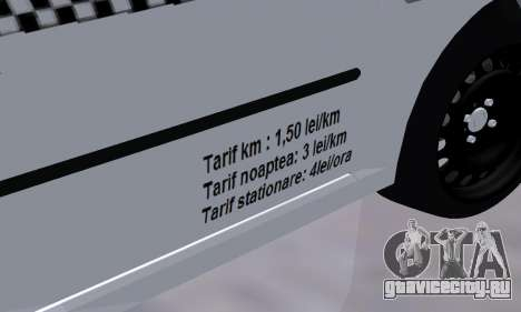 Dacia Logan Taxi для GTA San Andreas вид сбоку