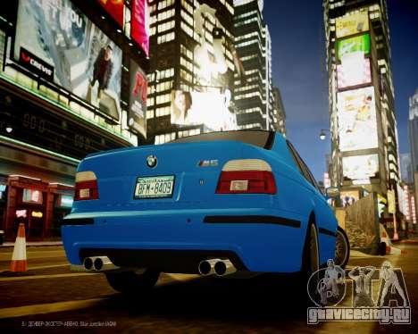 BMW M5 E39 для GTA 4 вид сзади слева