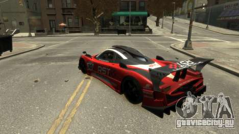 Pagani Zonda R для GTA 4 вид изнутри