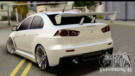 Mitsubishi Lancer X RE-Racing Edition для GTA San Andreas вид слева